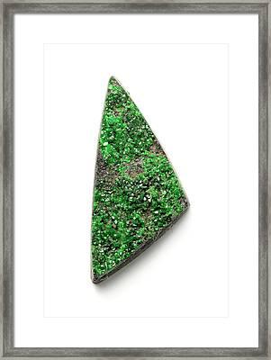 Rare Bright Green Uvarovite Garnet Framed Print by Dorling Kindersley/uig