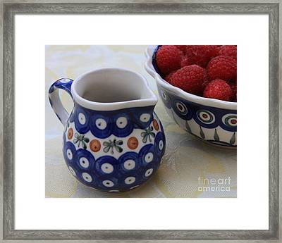 Raspberries With Cream Framed Print by Carol Groenen