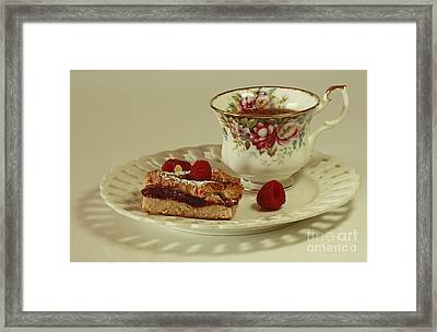 Raspberry Almond Square And Herbal Tea  Framed Print by Inspired Nature Photography Fine Art Photography