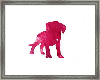 Raspberry Boxer Puppy Silhouette Framed Print by Joanna Szmerdt
