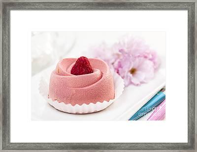 Raspberry Mousse Dessert Framed Print by Elena Elisseeva