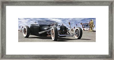 Rat Rod On Route 66 2 Panoramic Framed Print by Mike McGlothlen