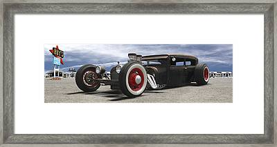 Rat Rod On Route 66 Panoramic Framed Print by Mike McGlothlen