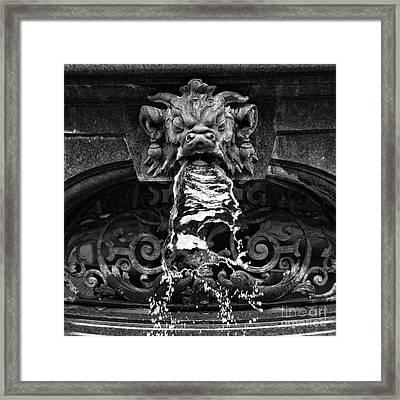 Rathaus Fountain Head Mono Framed Print by John Rizzuto