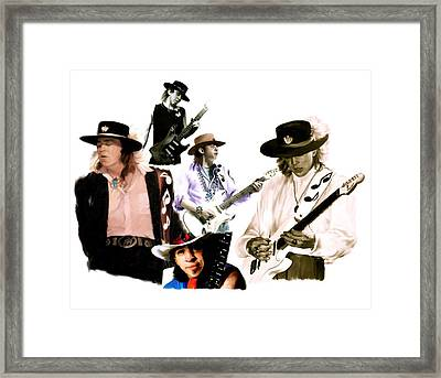Rave On  Stevie Ray Vaughan Framed Print by Iconic Images Art Gallery David Pucciarelli
