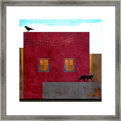 Raven And Cat Framed Print by Carol Leigh