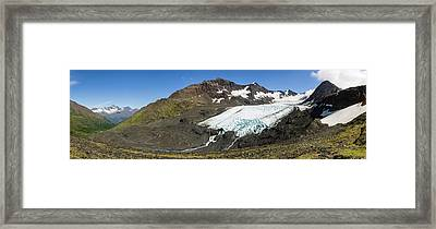 Raven Glacier At Crow Pass Framed Print by Panoramic Images