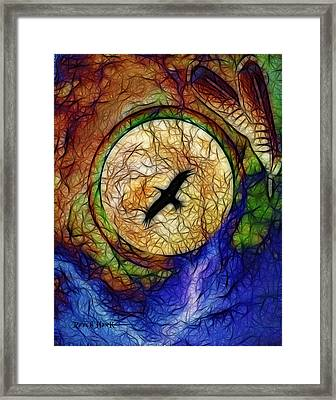 Raven Hawk And The Moon Framed Print by The Feathered Lady