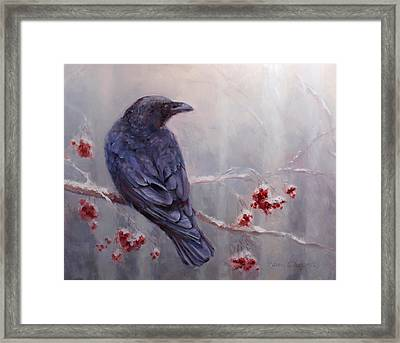 Raven In The Stillness - Black Bird Or Crow Resting In Winter Forest Framed Print by Karen Whitworth
