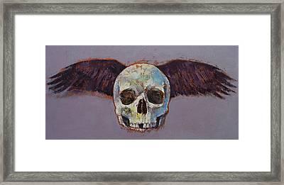 Raven Skull Framed Print by Michael Creese