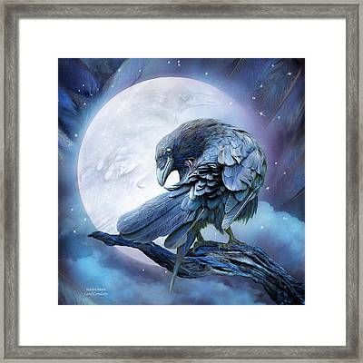 Raven Moon Framed Print by Carol Cavalaris