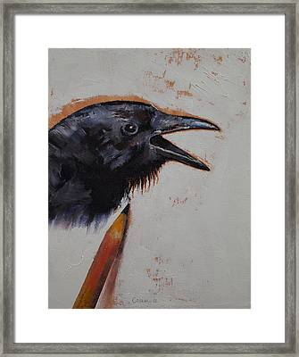 Raven Sketch Framed Print by Michael Creese