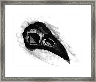 Raven Skull - Crow Skull In Watercolor Painting Framed Print by Tiberiu Soos