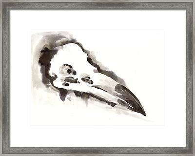 Raven Skull - Crow Skull Watercolor Painting Framed Print by Tiberiu Soos