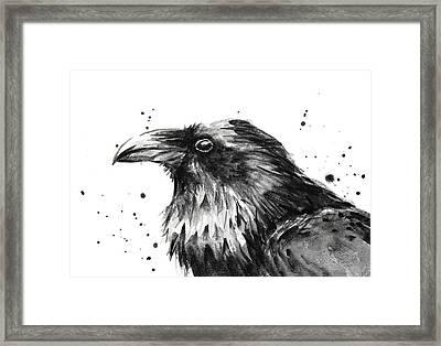 Raven Watercolor Portrait Framed Print by Olga Shvartsur