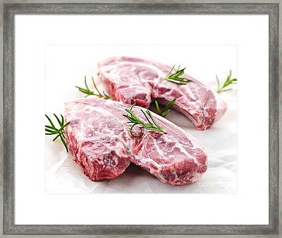 Raw Lamb Chops Framed Print by Elena Elisseeva