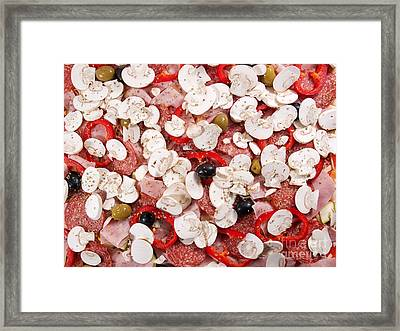 Raw Pepperoni Pizza Framed Print by Sinisa Botas
