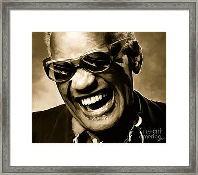 Ray Charles - Portrait Framed Print by Paul Tagliamonte