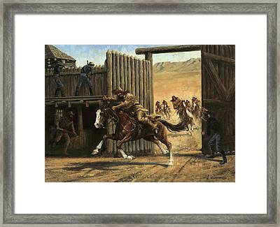 Re-closing Frontiersmen Coming Into The Fort Framed Print by Don  Langeneckert