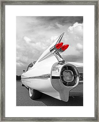 Reach For The Skies - 1959 Cadillac Tail Fins Black And White Framed Print by Gill Billington