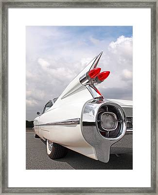 Reach For The Skies - 1959 Cadillac Tail Fins Framed Print by Gill Billington