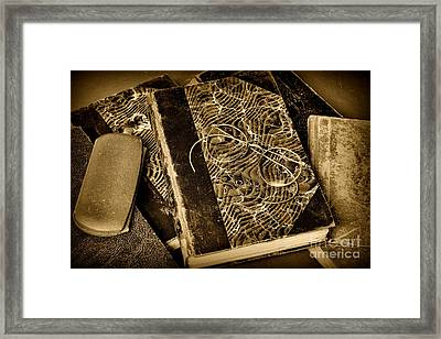 Reading And Glasses In Black And White Framed Print by Paul Ward