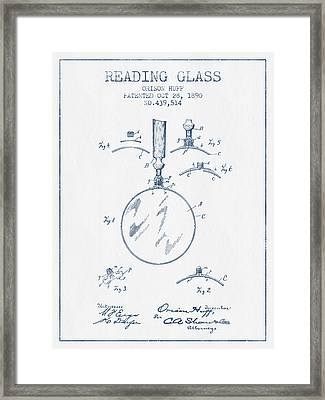 Reading Glass Patent From 1890- Blue Ink Framed Print by Aged Pixel