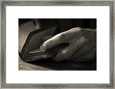 Reading Hand Framed Print by Nathan Wright