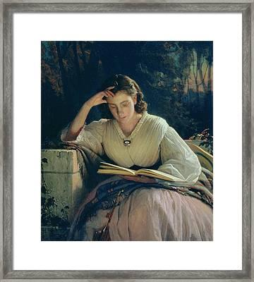 Reading Framed Print by Ivan Nikolaevich Kramskoy