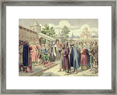 Reading Of The Code In The Presence Of Grand Duke Jaroslav Of Novgorod, 1880 Wc On Canvas Framed Print by Aleksei Danilovich Kivshenko