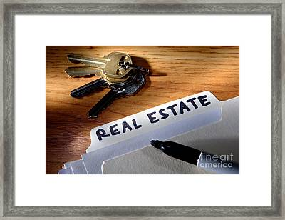 Real Estate File Folder With Marker And House Keys Framed Print by Olivier Le Queinec