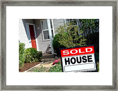 Real Estate Sold House Sign And Home For Sale Framed Print by Olivier Le Queinec