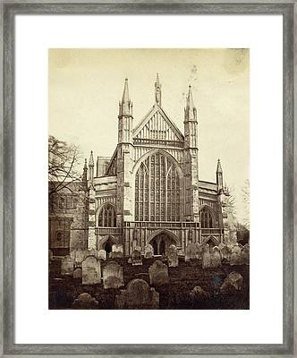 Rear And Cemetery Of Winchester Cathedral Framed Print by Artokoloro