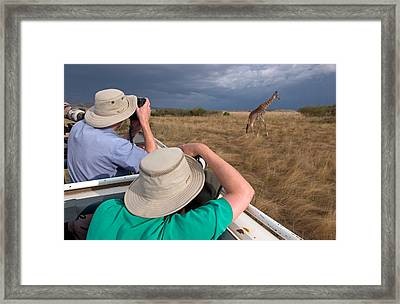 Rear View Of Two Safari Photographers Framed Print by Panoramic Images