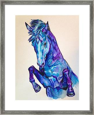 Rearing Horse Watercolor Framed Print by Mary Erickson