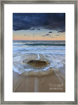 Receding Wave Stormy Seascape Framed Print by Katherine Gendreau