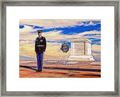 Recitation Of The Requirements Of Honor Guards Framed Print by Bob and Nadine Johnston