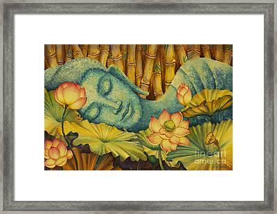 Reclining Buddha Framed Print by Yuliya Glavnaya