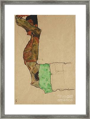 Reclining Male Nude With Green Cloth Framed Print by Egon Schiele