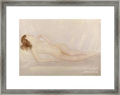 Reclining Nude Framed Print by Edward Stanley Mercer