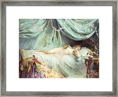 Reclining Nude In An Elegant Interior Framed Print by Madeleine Lemaire