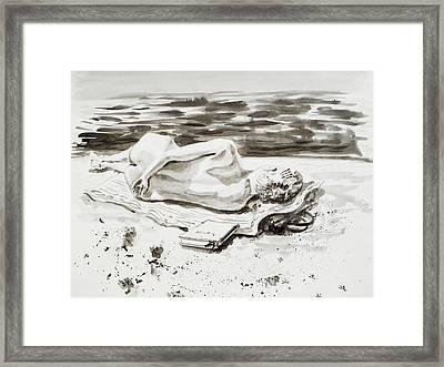 Reclining Nude Study Resting At The Beach Framed Print by Irina Sztukowski