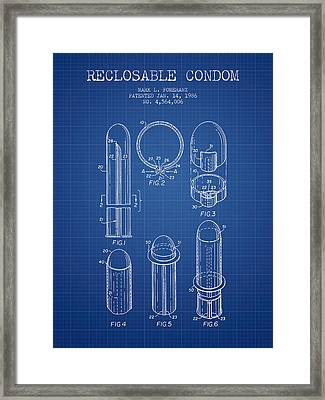 Reclosable Condom Patent From 1986 - Blueprint Framed Print by Aged Pixel