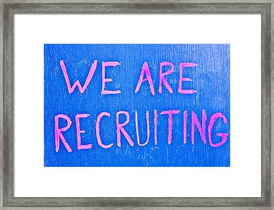 Recruiting Framed Print by Tom Gowanlock