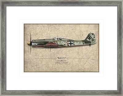 Red 1 Focke-wulf Fw-190d - Map Background Framed Print by Craig Tinder