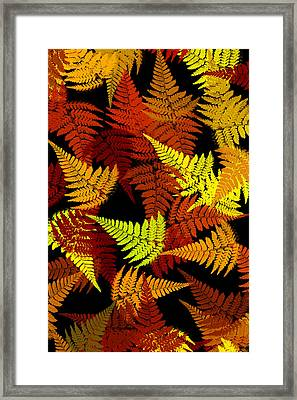 Red Abstract Fern Leaf Pattern Art Framed Print by Christina Rollo
