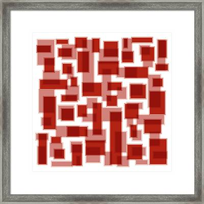 Red Abstract Patches Framed Print by Frank Tschakert