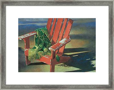 Red Adirondack Chair Framed Print by Mia Tavonatti