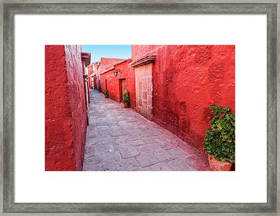 Red Alley In Monastery Framed Print by Jess Kraft