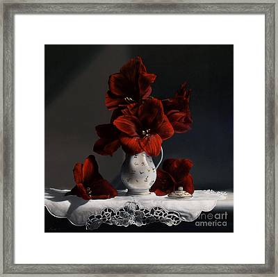 Red Amaryllis  Framed Print by Larry Preston